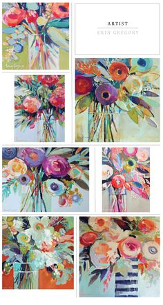 Artist // Erin Fitzhugh Gregory by esmeralda Art And Illustration, Art Floral, Erin Gregory, Abstract Flowers, Abstract Art, Love Art, Painting Inspiration, Painting & Drawing, Art Projects