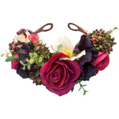 AGNES Floral Crown Headband ($78) ❤ liked on Polyvore featuring accessories, hair accessories, rose crown headband, braided headband, floral crown headband, flower headband and berry garland