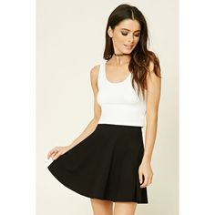 Forever21 Stretch-Knit Flared Skirt ($5.90) ❤ liked on Polyvore featuring skirts, mini skirts, black, stretch knit skirt, mini skater skirt, forever 21 skirts, flared mini skirt and forever 21