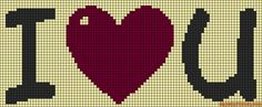 I love You perler bead pattern