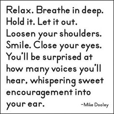 Relax. Breathe in deep. Hold it. Let it ou. Loosen your shoulders. Smile. Close your eyes. You'll be surprised at how many voices you'll hear, whisphering sweet encouragement into your ear. - Mike Dooley