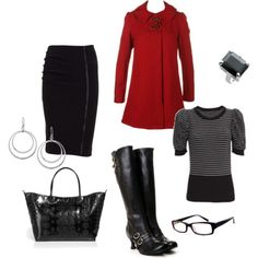 Red/Black outfit - Click image to find more Women's Fashion Pinterest pins