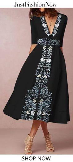 b25aabe1b0  29.99 Black Women Spring Dresses A-Line Party Vintage Floral Dresses