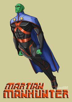 Martian Manhunter by DlesHenry Dc Comics Superheroes, Dc Comics Characters, Dc Comics Art, Marvel Dc Comics, Dc Heroes, Comic Book Heroes, Godzilla, Man Hunter, Hq Dc