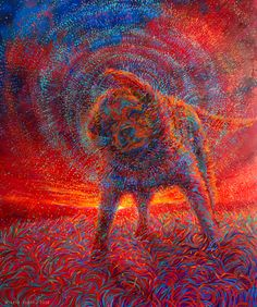 By Iris Scott | oil on Canvas | finger painting | originals and prints | www.IrisScottFineArt.com | A big yellow lab ends the day with a sunset swim. He shakes all of the water droplets off of him, and they turn red in the remaining sunlight.