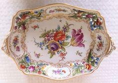 Dresden porcelain basket dish