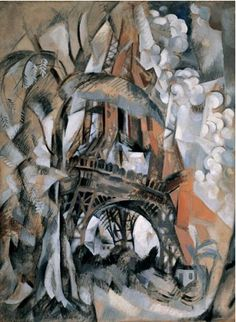 By Robert Delaunay (1885-1941), 1910, Eiffel Tower with Trees, Oil on canvas, Guggenheim Museum, NY. (Cubism)