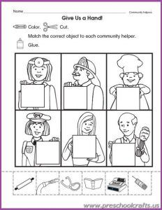 Community Helpers Printable Worksheets for Kids - Preschool and Kindergarten Community Helpers Worksheets, Community Helpers Kindergarten, Kindergarten Social Studies, Kindergarten Worksheets, Preschool Activities, Community Helpers Crafts, Space Activities, Printable Worksheets For Kids, Kindergarten Jobs
