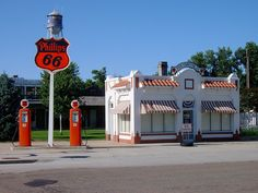 Vintage Gas Stations At Night