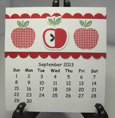 "I already had an idea using these apples for September. However, Carol C, from the local ""committee"" helped me refine this idea and make it pop. Calendar Notes, Calendar Printable, Calendar Ideas, Calendar 2020, Advent Calendar, Post It Holder, Cd Holder, September Calander, Paper Pumpkin"