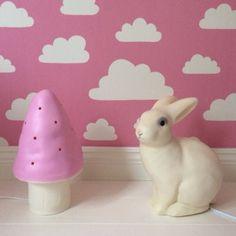 pink moln wallpaper by farg form, heico lamps: pink mushroom, white rabbit