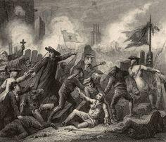 Defensa de Barcelona l'11 de setembre de 1714    Prop de trenta mil bombes van caure sobre una ciutat defensada per uns cinc mil membres de les milícies contra els noranta mil soldats de les tropes borbòniques. Gravat amb un episodi de la defensa de la ciutat.
