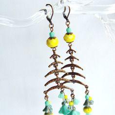 """Boucles d'oreilles """"lunes d'été"""" - perles de bohême dans les tons jaune et turquoise, cuivre rouge -"""