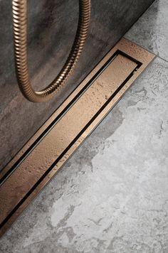 HighLine Colour (Copper) By Unidrain Bathroom Drain, Bathroom Plans, Shower Drain, Bathroom Spa, Laundry In Bathroom, Shower Floor, Bathroom Renovations, Bathroom Styling, Bathroom Interior Design