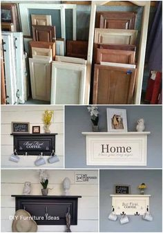 Old Cabinet Doors, Old Cabinets, Cabinet Decor, Cabinet Door Makeover, Small Cabinet, Repurposed Furniture, Cool Furniture, Furniture Design, Furniture Ideas