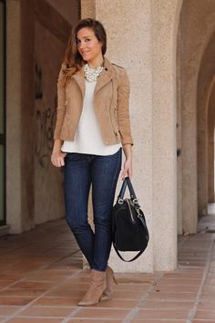 Tan jacket with white top and jeans and statement pearl necklace