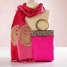 Zari Work Pink Stole and Mobile Bag Hamper