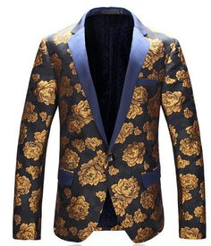 Spring autumn Flower blazer mens for suits short coat new arrival blazers long sleeve top quality men business casual british