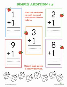 Preschool Addition Counting & Numbers Math Flash Cards Worksheets: Preschool Addition #2