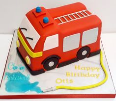 Fire engine cake with hose and water. Niall Birthday, Birthday Cake Kids Boys, Woody Birthday, 3rd Birthday Cakes, Firefighter Birthday Cakes, Fireman Cake, Fireman Birthday, Fire Engine Cake, Fire Fighter Cake