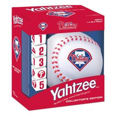 Philadelphia Phillies Yahtzee: Take me out to the ballgame! Hit the field with this Philadelphia Phillies™ edition of YAHTZEE®. America's #1 Dice Game now features one-of-a-kind Phillies dice and a baseball dice cup. It's the only game where family and friends can enjoy classic YAHTZEE game play with a special Phillies twist.  $16.95  http://www.calendars.com/Philadelphia-Phillies/Philadelphia-Phillies-Yahtzee/prod201100007621/?categoryId=cat00436=cat00436#