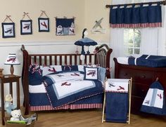 Aviator Crib Bedding Set by Sweet JoJo Designs - Navy and White Airplane Crib Set - http://www.childrensbeddingboutique.com/aviator-crib-bedding-set.aspx