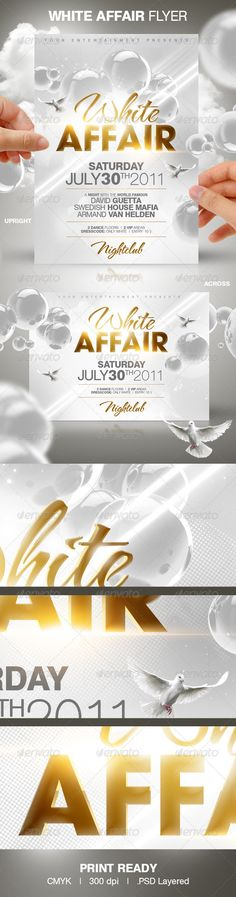 White Affair Party Flyer - #Clubs & Parties Events Download here: https://graphicriver.net/item/white-affair-party-flyer/151299?reff=classicdesignp