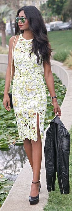 Astr Yellow Multi Floral Cutout Skirt And Top Suit by Tuolomee