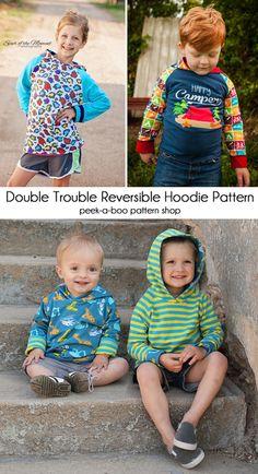 Double Trouble Reversible Hoodie PDF Sewing Pattern! #PeekabooPatternShop