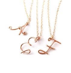 cb18e6922c3d Custom Gold Initial Necklace. Personalized 14k Rose Gold Filled Letter Pe