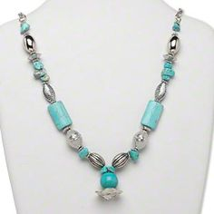 Necklace, silver-finished plastic and magnesite (dyed / stabilized), turquoise blue, mixed sizes and shapes on silver-finished chain with 6-inch dangle and mixed charms, 30 inches continuous loop. Sold individually.