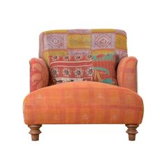 Cisco Brothers Chair with vintage kantha blanket fabric, a unique one of a kind piece
