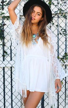 cardigan dealsforyou white lace floral lace up summer summer dress cute boho bohemian vintage hipster grunge summer outfits tumblr tumblr outfit kimono pom hair beach