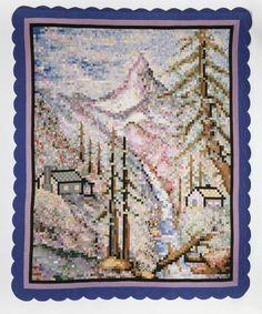 Vintage pixelated quilt: The Matterhorn Quilt, 1934, Myrtle M. Fortner.  Neusteter Textile Collection: Gift of Melvin Dorsett.  Denver Art Museum.
