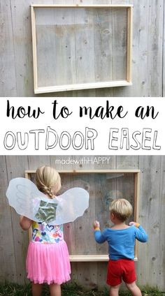 Furniture Layouts With The Lake House Make An Outdoor Easel To Get Your Kids Playing Outside All Day Long Summer Activities For Kids Outdoor Fun Outdoor Fun For Kids, Outdoor Activities For Kids, Outdoor Learning, Fun Activities, Backyard Play, Backyard For Kids, Play Yard, Diy Easel, Outdoor Play Spaces