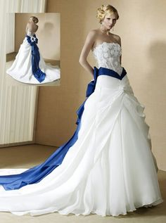 Blue and white wedding dress