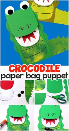 Fun crocodile paper bag pupet craft for kids. Fun crocodile paper bag pupet craft for kids. Crafts For Teens To Make, Animal Crafts For Kids, Toddler Crafts, Projects For Kids, Diy For Kids, Safari Crafts, Vbs Crafts, Resin Crafts, Fall Crafts