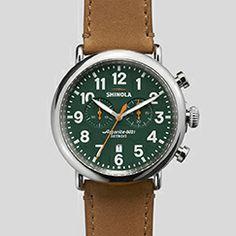 The Runwell Chrono 47mm Brown Leather Strap Green Dial Watch   Shinola®