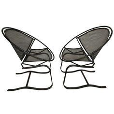 Pair of Vintage Salterini 'Radar' Spring Base Lounge Chairs Mid-century Modern Vintage Patio Furniture, Modern Garden Furniture, Mcm Furniture, Patio Chairs, Outdoor Chairs, Lounge Chairs, Salterini, Mid Century Chair, Mid-century Modern