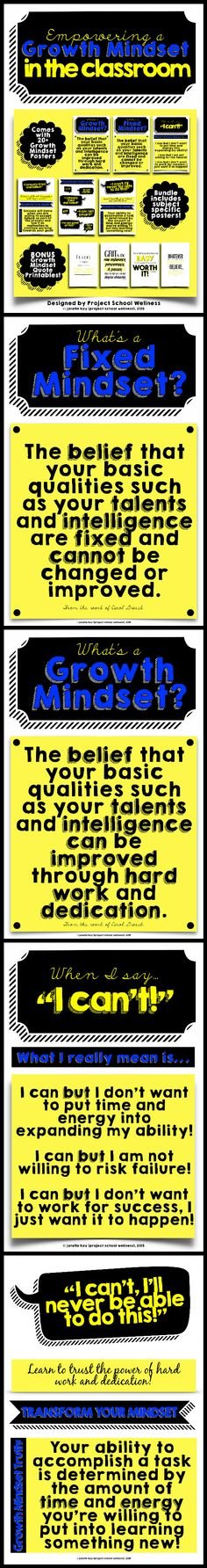 Growth Mindset Posters - How to teach students about Growth Mindset - TPT // Middle School Posters // High School Posters