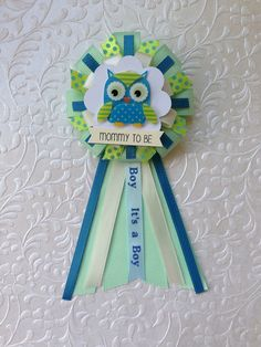 Mommy to be ribbon corsage for baby shower - it's a boy - baby boy - owl on Etsy, $12.00