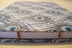 Large Peacock Wedding Guest Book: Blue and Gold Journal Notebook Coptic Book by…