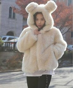 Light Khaki Bunny  Ear hoodie. Super Fluffy and Comfy by YJstudio, $74.00