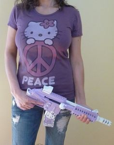 Hello Kitty themed Kel-Tec PLR-16 machine pistol