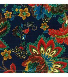 Keepsake Calico Fabric Paisley Floral Dk Blue