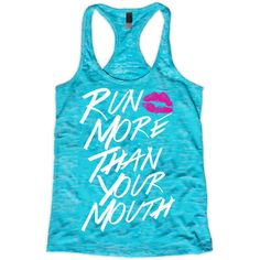 Run More Than Your Mouth Tank Womens Workout Tank Top Cross Training... ($22) ❤ liked on Polyvore featuring activewear, activewear tops, black, tanks, tops en women's clothing