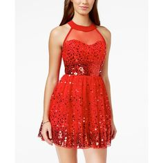 Crystal Doll Juniors' Sequin Illusion Fit-and-Flare Party Dress ($69) ❤ liked on Polyvore featuring dresses, red, red babydoll dress, red cut out dress, red cutout dress, cutout dress and sequin dress