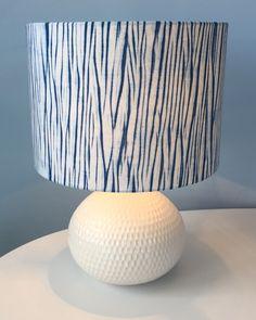 Arashi shibori indigo lampshade on cotton. Rob Jones, Alexandra Palace, May 2016.