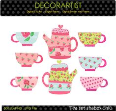 tea party digital clip art , tea party , tea cup and tea pot , shabby chic style,  INSTANT DOWNLOAD