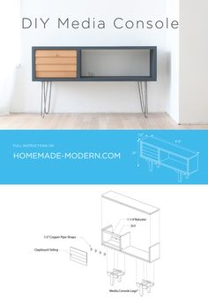 A DIY Media Console that has a Mid-Century Modern Style.  Another DIY Project by Ben Uyeda of HomeMade Modern